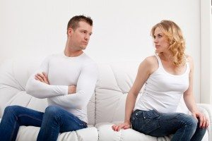 couple sulking after conversation