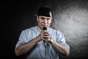Rap singer rapper man with microphone