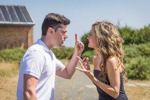 Couple having argument in quarrel