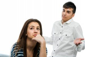 Teen couple having disagreement.