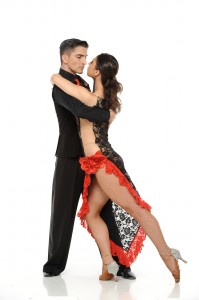 Latino dancers in ballroom isolated on white..