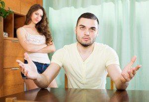 Young family  having quarrel
