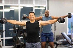 men doing dumbbell workout