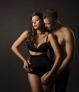 Sexy Couple Woman Man Portrait, Sensual High Waist Underwear