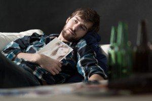 Depressed man after split up