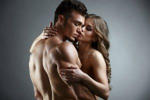 Erotica. Embrace of attractive nude couple