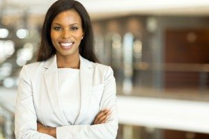 black business executive with arms crossed